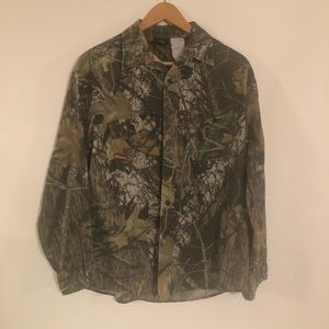 Red Head Camouflage Button Front Shirt Mens